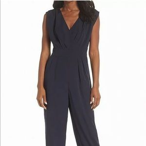 Chelsea28NEW NavyBlue Women'sRuched Ankle Jumpsuit
